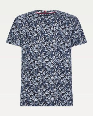 Tommy Hilfiger All Over Leaf Print T-shirt Blue