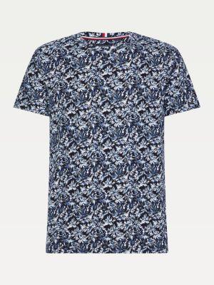 Tommy Hilfiger All Over Leaf Print T-shirt Blue