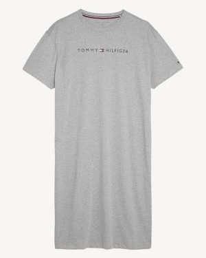 Tommy Hilfiger Logo Print Night Shirt Grey