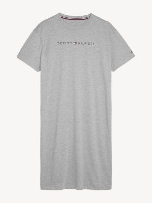 Tommy Hilfiger Logo Print Night Shirt Grey