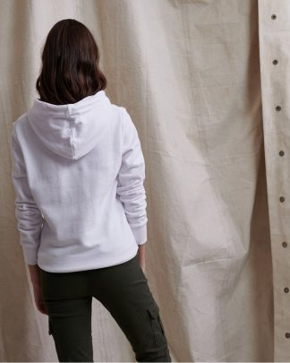 Superdry Alice Script Embroidery Hoodie Optic White