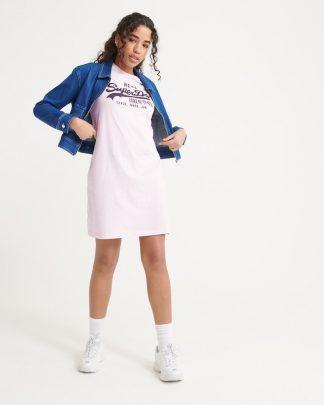 Superdry Vintage Logo T-shirt Dress Blush Pink