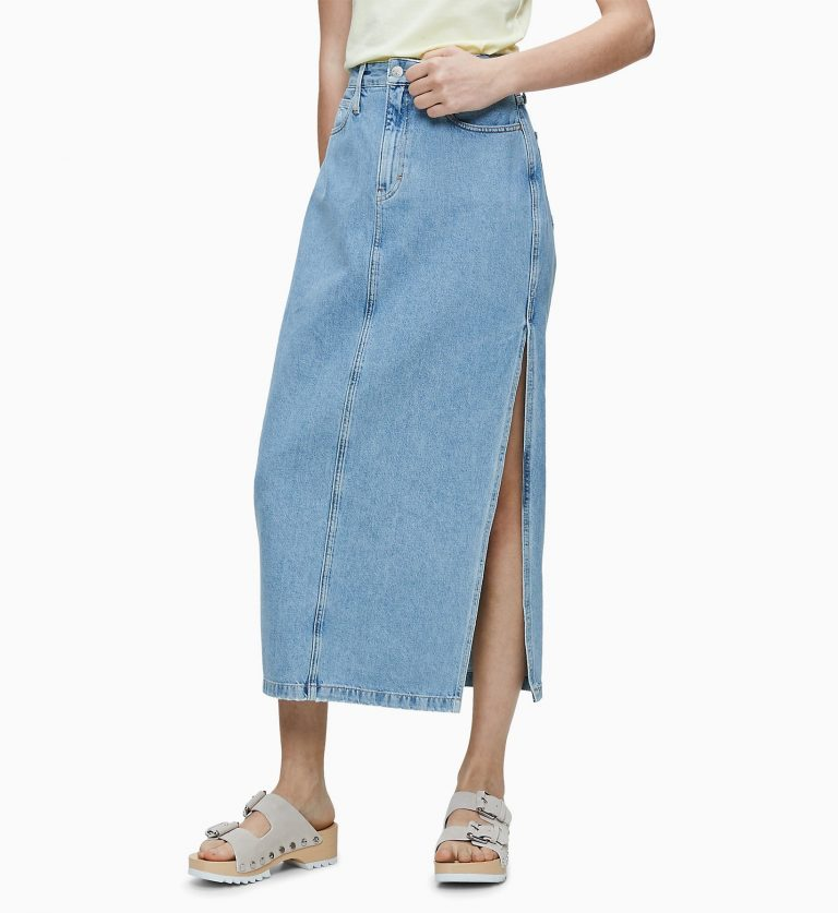 Calvin Klein Maxi Skirt Light Blue