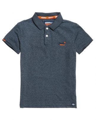 Superdry Orange Label Jersey Polo Navy Feeder