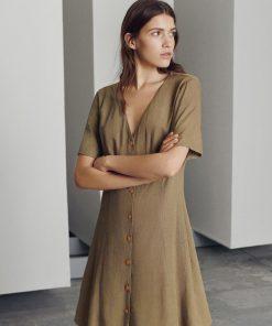 Moss Copenhagen Kalamata Dress Khaki