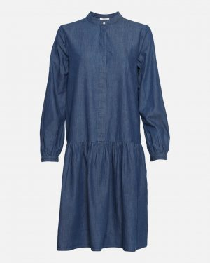 Moss Copenhagen Rida Lyanna Ls Dress Mid Blue