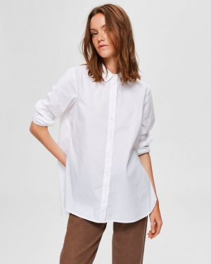 Selected Femme Fori Side Zip Shirt White