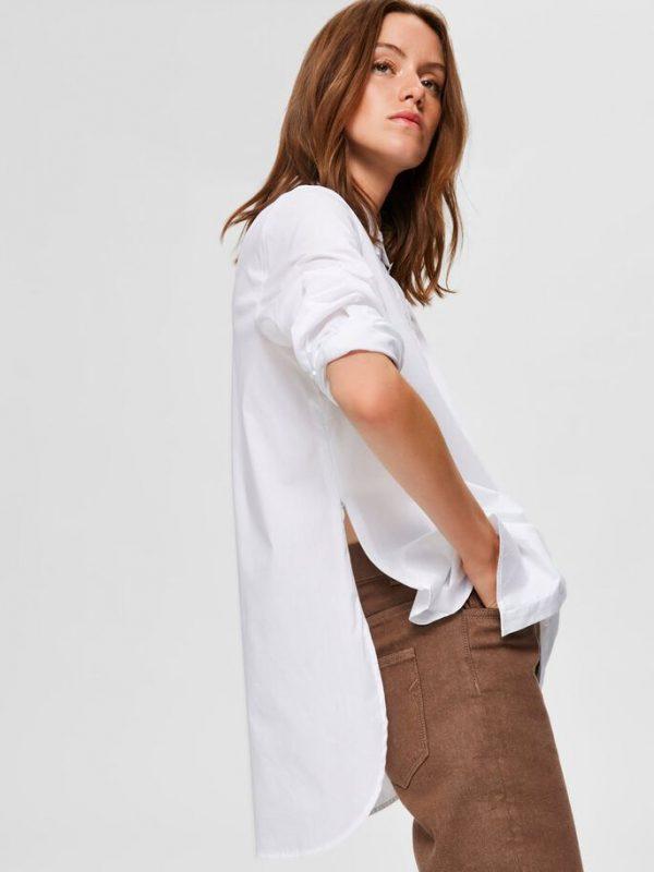 Selected Femme Fori Side Zip Shirt White