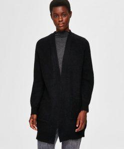 Selected Femme Lulu Long Cardigan Black