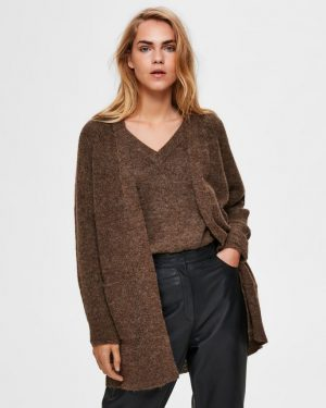 Selected Femme Lulu Long Cardigan Brown