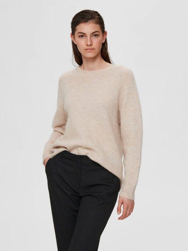 Selected Femme Lulu O-neck Knit Birch