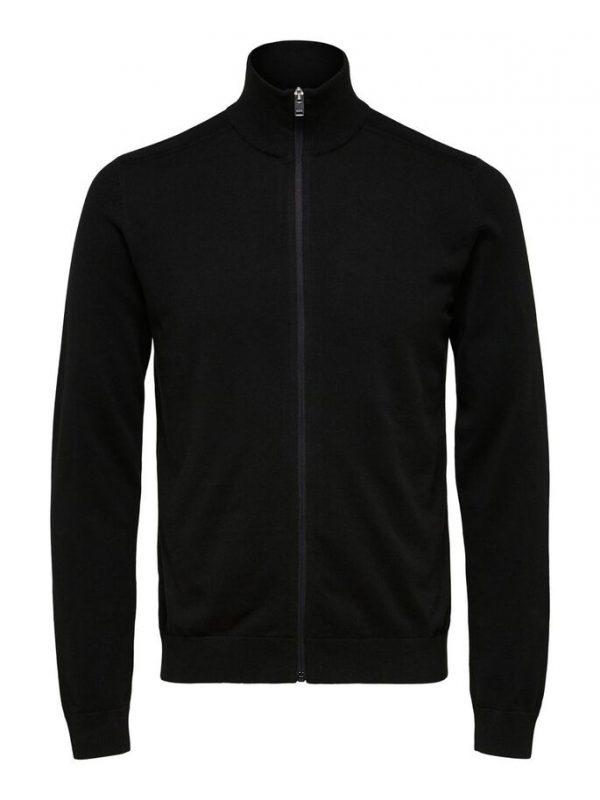 Selected Homme Berg Full Zip Cardigan Black