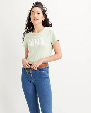 Levi's The Perfect Tee Serif Logo Bok Choy Green