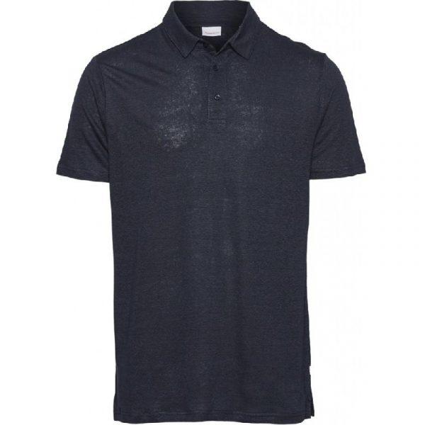 Knowledge Cotton Apparel Rowan Linen Polo Shirt Blue
