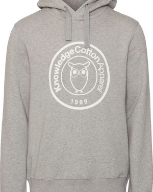 Knowledge Cotton Apparel Elm Hood Big Badge Sweat Grey