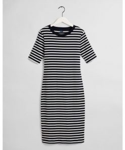 Gant Striped Rib Jersey Dress Evening Blue