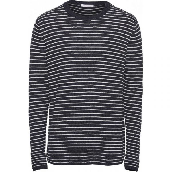 Knowledge Cotton Apparel Field Striped Knit Blue