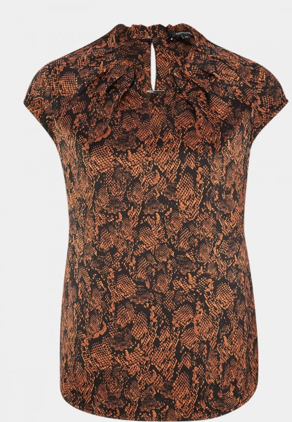 Comma Blouse Top Snake Brown