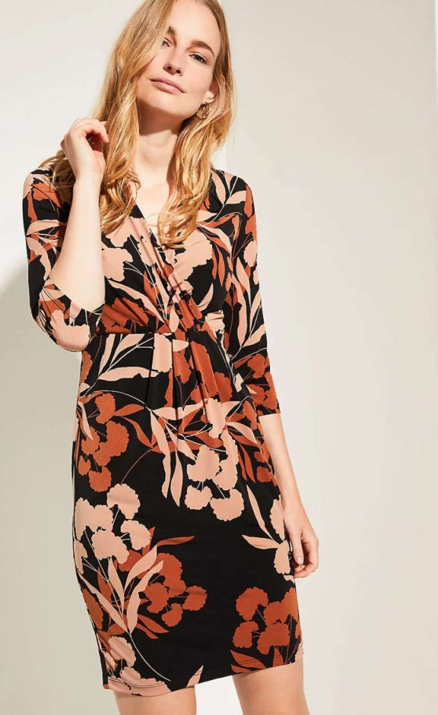 Comma Dress Flower Black