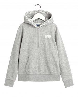 Gant Teens Half Zip Hoodie Grey