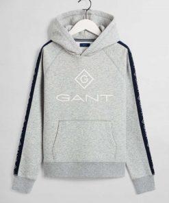 Gant Teens Stripe Hoodie Grey