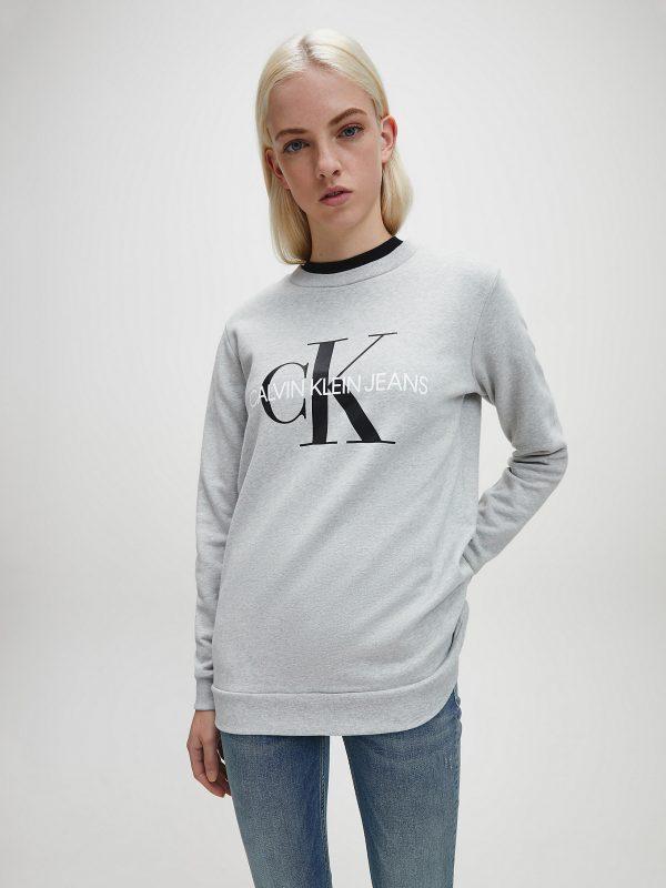 Calvin Klein Monogram Logo Sweatshirt Light Grey Heather