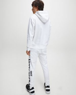 Calvin Klein Institutional Logo Collar Hoodie Bright White