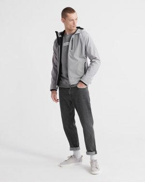 Superdry Hooded Softshell Jacket Light Grey