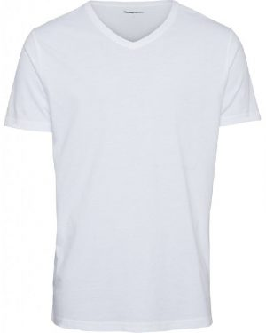 Knowledge Cotton Apparel Alder Basic V-neck Tee White