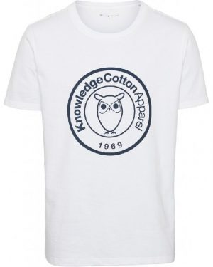 Knowledge Cotton Apparel Alder Big Badge Print Tee Whit