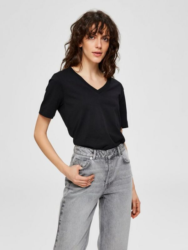 Selected Femme Organic Cotton Tee Black