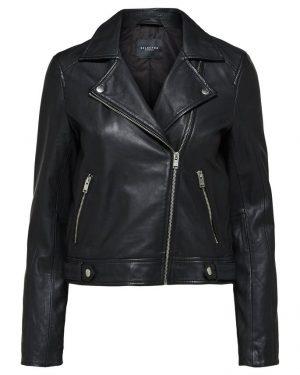 Selected Femme Katie Leather Jacket Black
