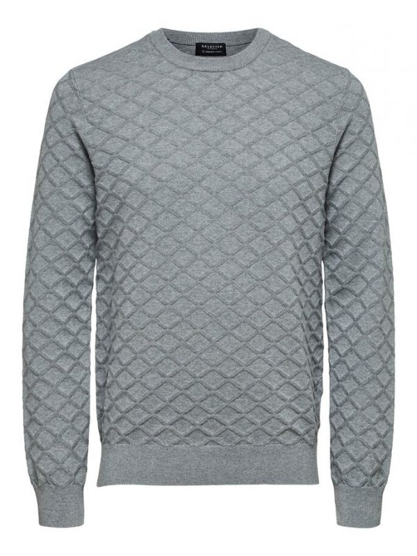 Selected Homme Diamond Pattern Crew Neck Medium Grey Melange