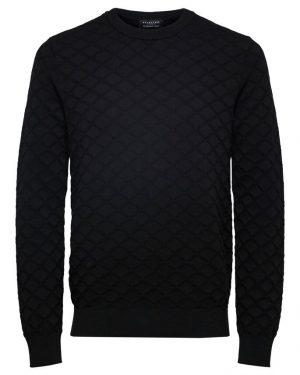 Selected Homme Diamond Pattern Crew Neck Black