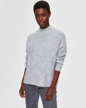 Selected Femme Lulu Enica Knit Light Grey Melange