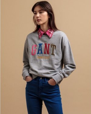 Gant Multicolor Graphic Sweatshirt Grey Melange