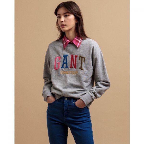 Gant Multicolor Graphic Sweatshirt Grey Melange