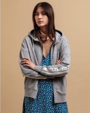 Gant 13 Stripes Full Zip Hoodie Grey Melange