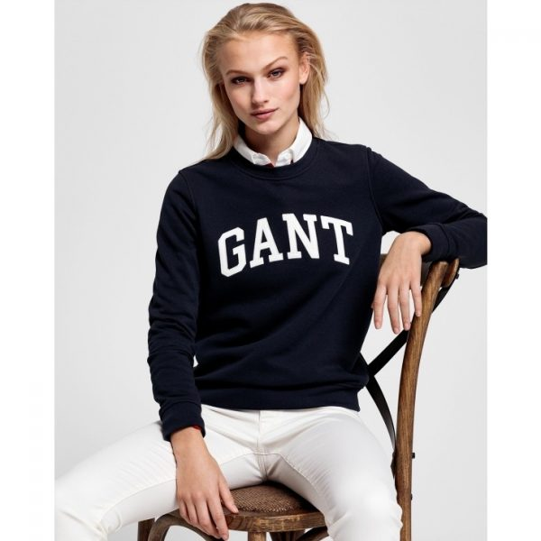 Gant Arch Logo C-Neck Sweat Evening Blue