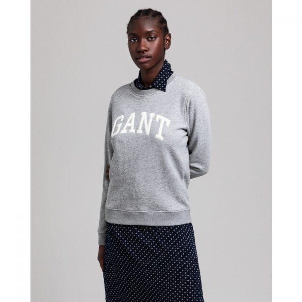 Gant Arch Logo C-Neck Sweat Grey Melange