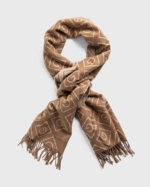 Gant G Pattern Wool Scarf Warm Khaki