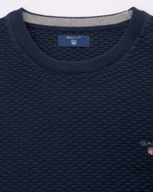 Gant Triangle Texture Crew Pullover Evening Blue