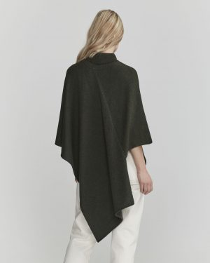 Holebrook Fia Rollneck Poncho Bottle Green