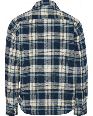 Knowledge Cotton Apparel Pine Checked Overshirt Moonlite Ocean