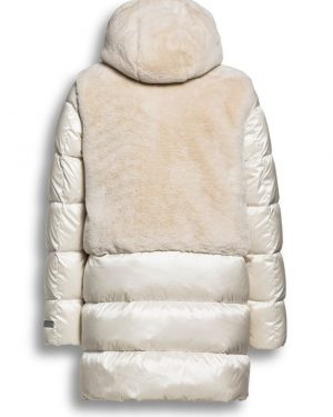 Beaumont Changeant Fur Combi Long Jacket Off White