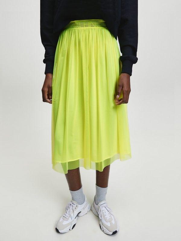 Calvin Klein Double Layer Mesh Skirt Safety Yellow