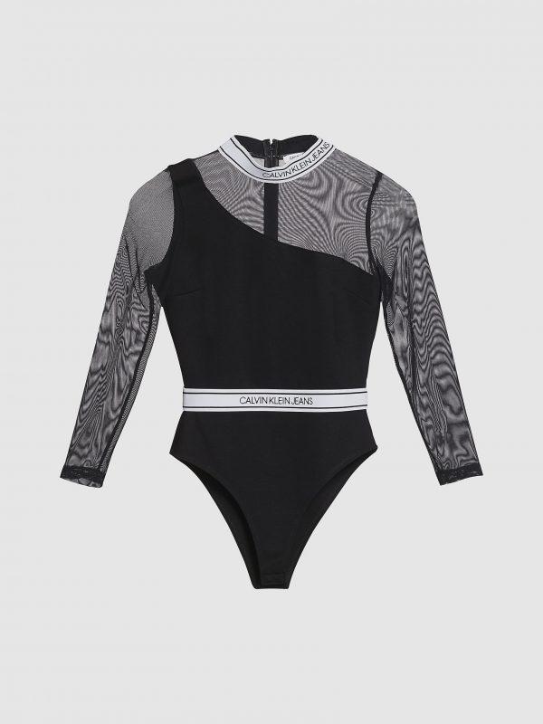 Calvin Klein Logo Tape Bodysuit Black