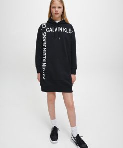 Calvin Klein Grid Logo Hooded Dress Black