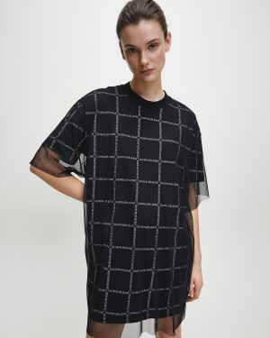 Calvin Klein Double Layer Logo T-shirt Dress Black