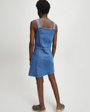 Calvin Klein Denim Button Tank Dress Light Blue